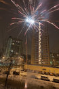 New Year fireworks in residential area of city Stock Image