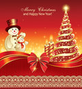 New year gala poster with decorated christmas tree candles and snowmen Royalty Free Stock Photo