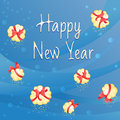New year gifts blue card on background with cute Royalty Free Stock Image