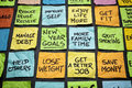 New year goals or resolutions popular colorful sticky notes on a blackboard Stock Photo