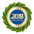 New Year 2018 Gold And Blue Gr...