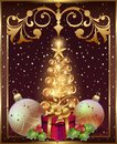New Year greeting card with Christmas tree and decorations with toys, bow and frame