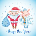 New Year greeting card with cute Pigs in Santa`s and Snow Maiden`s costumes.