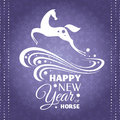 New year greeting card with horse vector illustration Royalty Free Stock Images