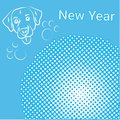 New Year Greeting Card Pop Art Comic Banner With Dog Holiday Decoration Design Royalty Free Stock Photo