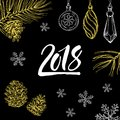 New Year 2018 hand written symbol with christmas decorations