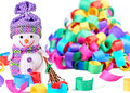 New Year 2016. Happy Snowman, party decoration Royalty Free Stock Photo