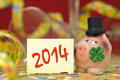 New year happy with talisman pig and clover Stock Photo