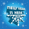 New year is here abstract colorful background with snowflakes stars and the text written with capital letters Stock Photos