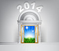 New year hope door concept a conceptual illustration for a happy verdant future of a opening onto a field of lush green grass Royalty Free Stock Photography