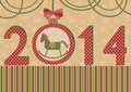 New year with the horse and ball vector illustration green a symbol of retro style Royalty Free Stock Images