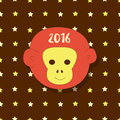 New year icon. Symbol 2016. Monkey head on stars background. Vector simple greeting card, postcard. Royalty Free Stock Photo
