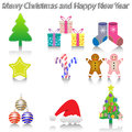 New Year Icons Royalty Free Stock Images