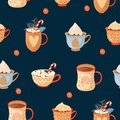 Seamless Christmas pattern with mugs of cacao with whipped cream, marshmallow; lollipop and holly leaves.