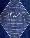2020 New Year Invitation Design in Dark Blue and Silver Glitter Royalty Free Stock Photo