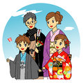 The new year in japan japanese family kimono Royalty Free Stock Images
