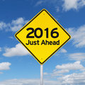 New year 2016 just ahead road sign Royalty Free Stock Photo