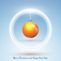 New year and merry christmas postcard abstract design of with a ball on blue background Royalty Free Stock Images