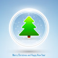 New year and merry christmas postcard abstract design of with green tree on blue background Royalty Free Stock Photography