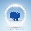 New Year 2014 and Merry Christmas postcard Santa Royalty Free Stock Photo