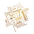 2017 new year multilingual golden text word cloud square greeting card on white