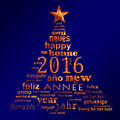 2016 new year multilingual text word cloud greeting card in the shape of a christmas tree