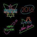 New year neon light set label retro 2016 elements Royalty Free Stock Photo