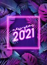 New Year neon tropic design, Disco tropical party vector poster, Christmas summer holiday flyer Royalty Free Stock Photo