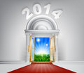 New year new dawn door a conceptual illustration of a entrance opening onto a field of lush green grass concept for a happy future Stock Photo