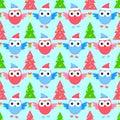 New year owl seamless pattern