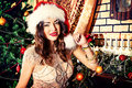 New year party attractive young woman in sexual lingerie posing in christmas decorations Royalty Free Stock Photo