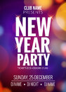 New Year party design banner. Event celebration flyer template bokeh lights. New year festive poster invitation 2017
