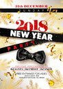 New Year 2018 party promotional poster with black silk bow Royalty Free Stock Photo