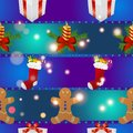 New year pattern with gingerbread man gift, Christmas candle and socks for gifts Royalty Free Stock Photo