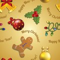 New year pattern gingerbread man mistletoe garland and christmas ball tree toy congratulations with Stock Photos