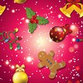 New year pattern gingerbread man mistletoe garland and christmas ball tree toy sparkles bokeh shiny glowing Stock Images