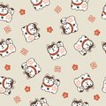 New year pattern with guardian dogs and plum flowers Royalty Free Stock Photo