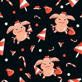 New year pattern with piglets, sweet seamless on black background