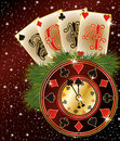 New year poker style vector illustration Royalty Free Stock Photography