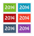 New year postage stamps six with the vector illustration Royalty Free Stock Photo