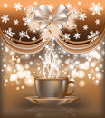 New year postcard with coffee cup vector illustration Royalty Free Stock Photos