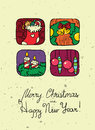 New year poster christmas and doodle Royalty Free Stock Images