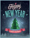 New year poster with christmas tree vector illustration Royalty Free Stock Image