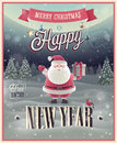 New year poster with santa vector illustration Stock Images