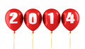 New year and red balloons render isolated on white and clipping path Royalty Free Stock Photo