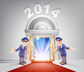 New year red carpet door concept of a doormen holding open a entrance to the with light streaming through it Royalty Free Stock Photos