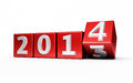 New year red cube render on white and clipping path Royalty Free Stock Photography