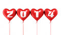 New year and red heart balloons d render isolated clipping path Stock Image