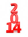 New year red render on white and clipping path Stock Image