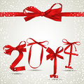 New year red ribbon greeting card Royalty Free Stock Images